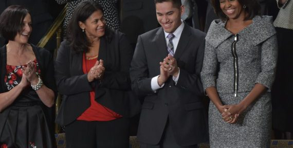 Anthony Mendez, '18, with First Lady Michelle Obama at the State of the Union Address in Washington, D.C.