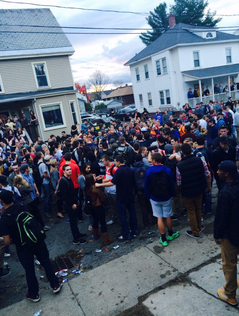 Students gather on Wilcox Terrace in Keene, NH.