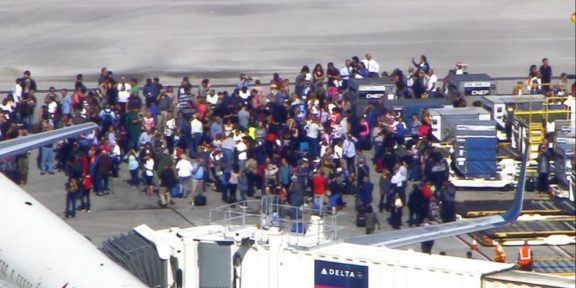 Ft. Lauderdale Airport Tarmac with people evacuated