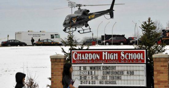 Emergency crews respond to the shooting at Chardon High School