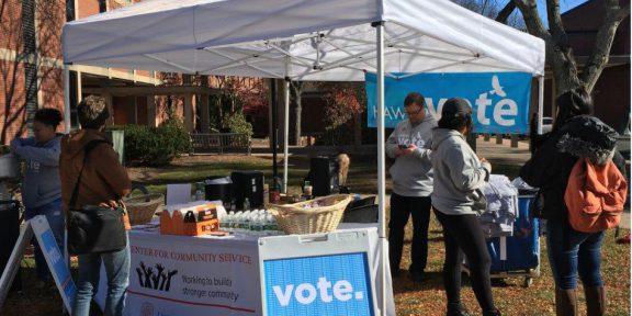Hawk's Vote outside Millard Auditorium