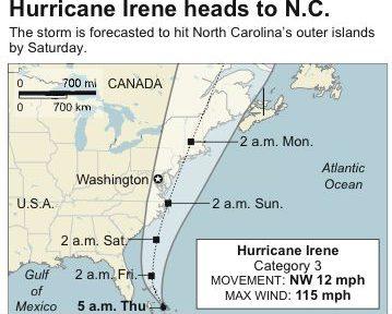 Path of Hurrican Irene