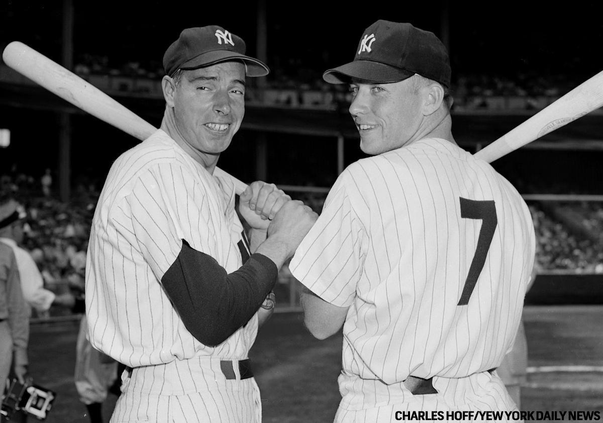 Joe DiMaggio and Mickey Mantle are presented with their plaques